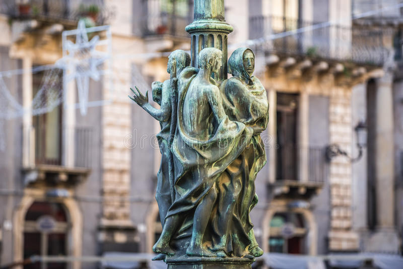 Lantern in Catania. Street lamp on the University square in Catania on the island of Sicily, Italy royalty free stock image
