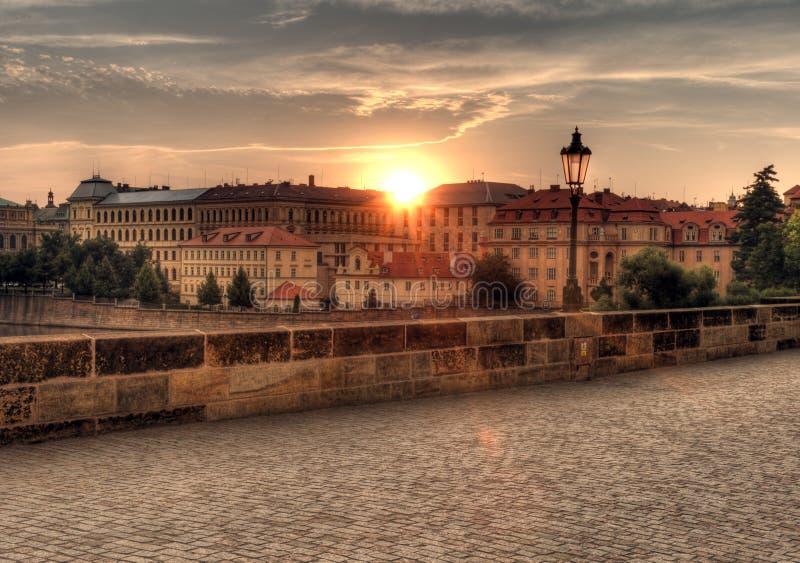 Lantern at Charles Bridge in Prague stock photo