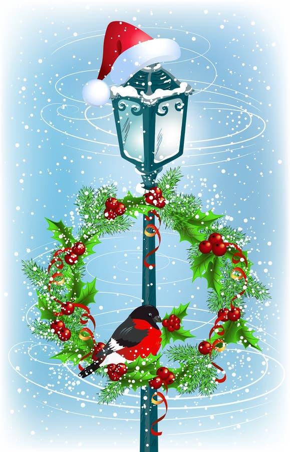 Lantern with Christmas wreath and bullfinch. Christmas lantern with Santa Claus hat and decorative wreath with bullfinch stock illustration