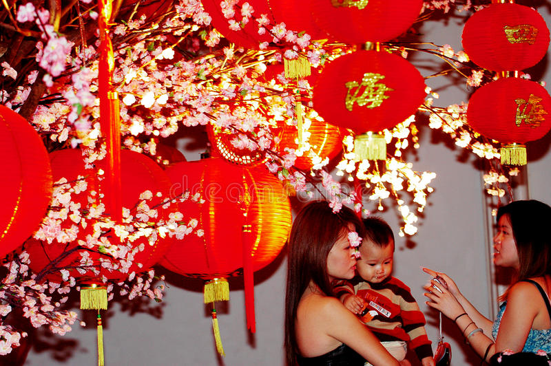 Lantern in the Empire Palace. In Chinese New Year celebrations in Surabaya, East Java, Indonesia stock photo