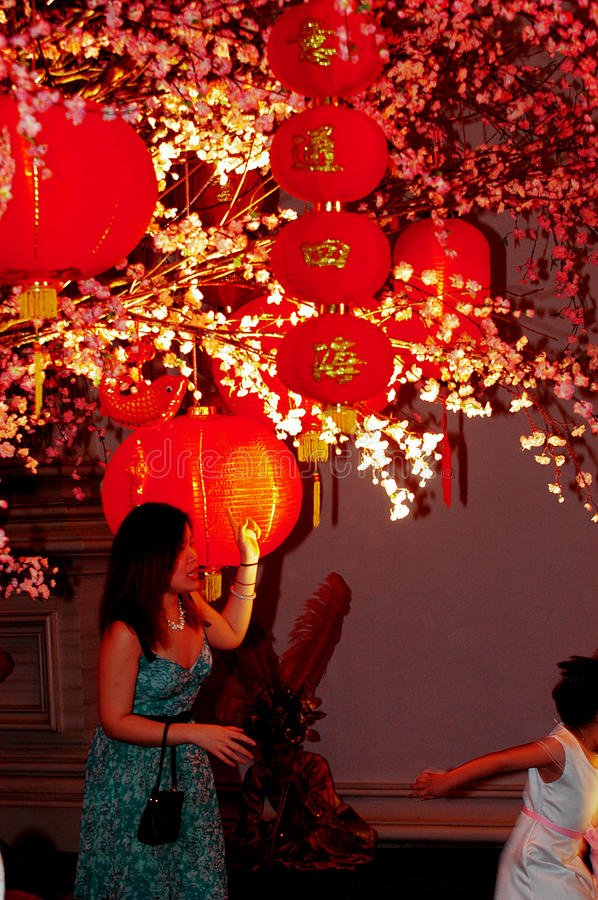 Lantern in the Empire Palace. In Chinese New Year celebrations in Surabaya, East Java, Indonesia stock photos