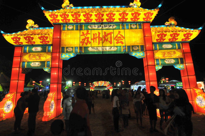 Lantern festival in Indonesia royalty free stock images