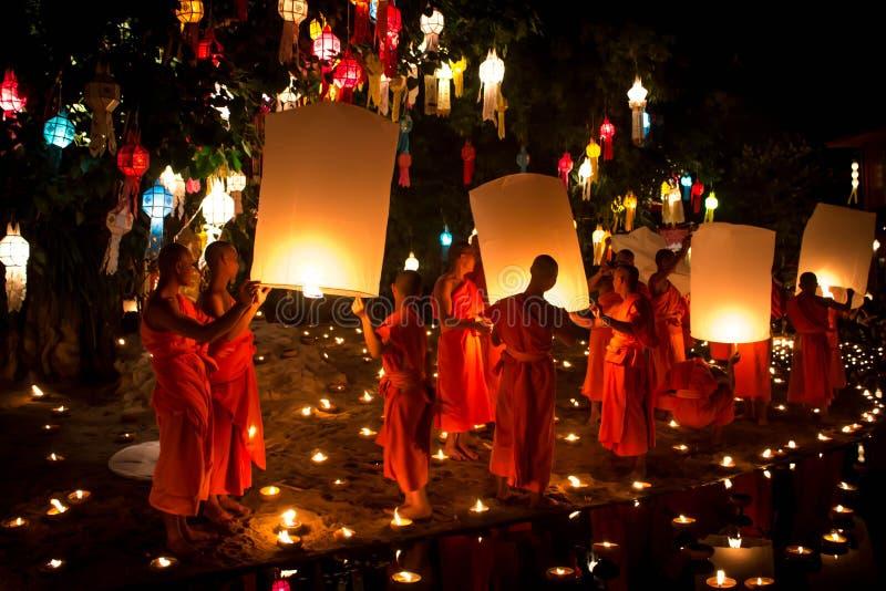 Loy Krathong, lantern, Buddhist monks release sky l stock photo