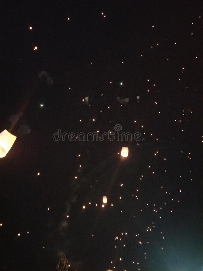 Lantern festival in November at Chiangmai royalty free stock photos