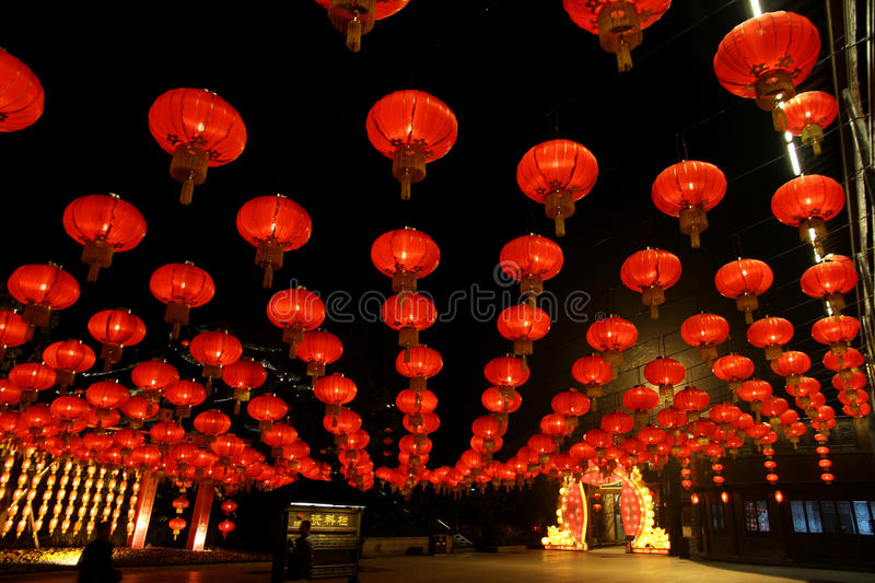 Lantern Festival at the park of Song-dynasty Town. In Hangzhou royalty free stock photos