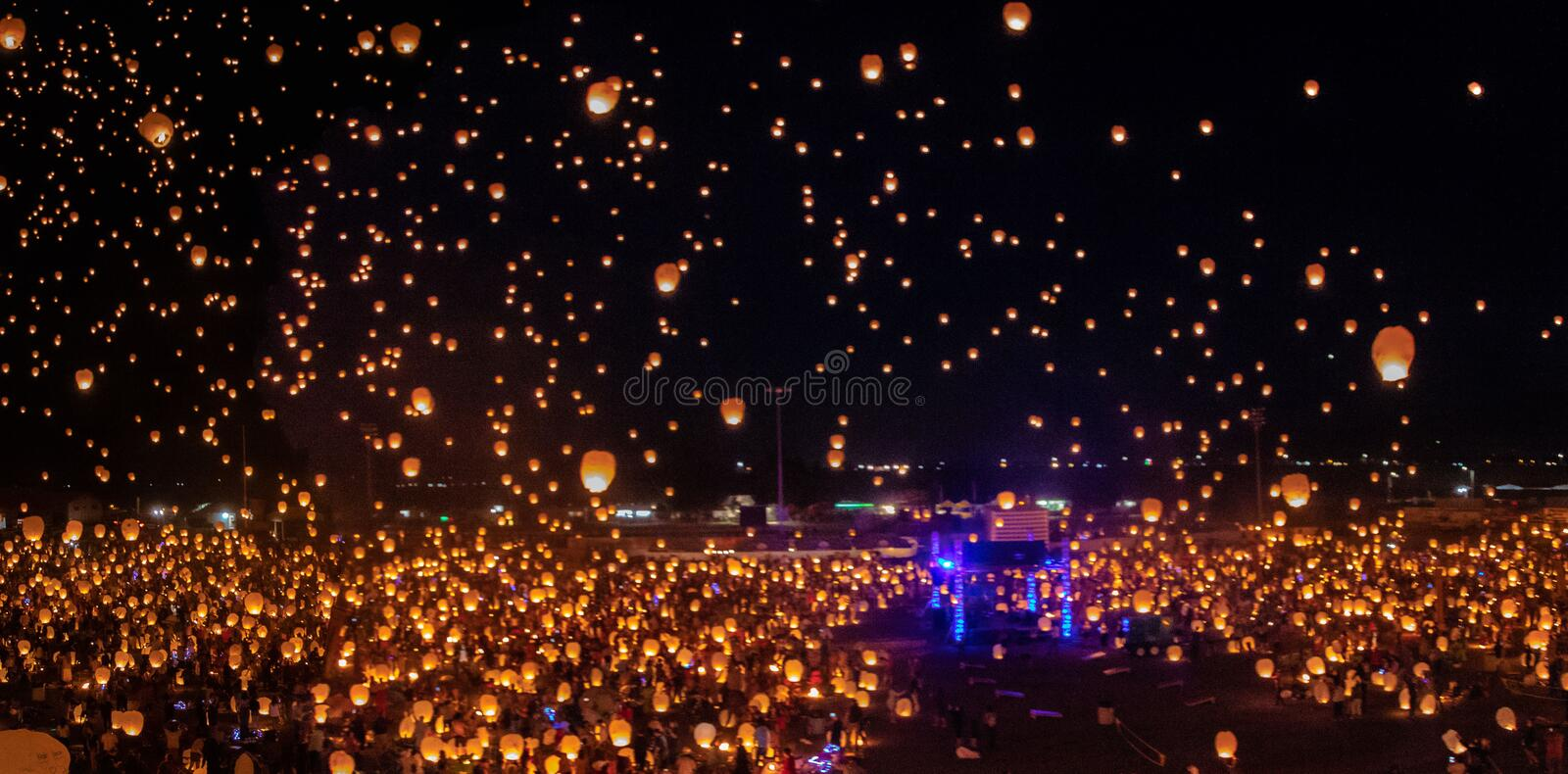 Seeing thousands of lantern floating to the heavens was beautiful. The lantern festival in Post Falls Idaho has thousands of people releasing their personalized stock images
