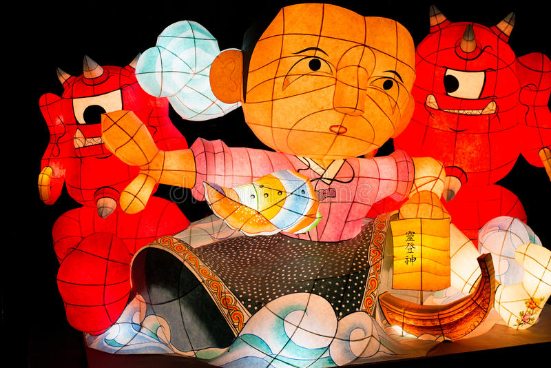 Lantern Festival, Seoul, paper lantern characters on Black Background royalty free stock images