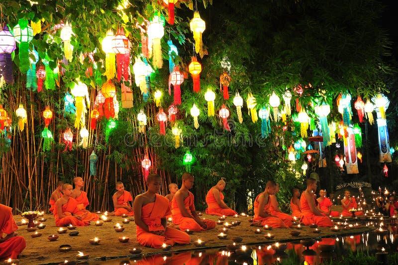 Tradition thailand chiang mai culture festival ceremony tour water lantern festival day lantern festival kongming lantern night v royalty free stock photo