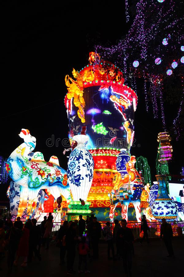 Lantern Festival in Zigong, Sichuan. Lanterns, also known as flower lanterns, is a popular traditional Chinese folk arts and crafts as New Year celebration stock photography