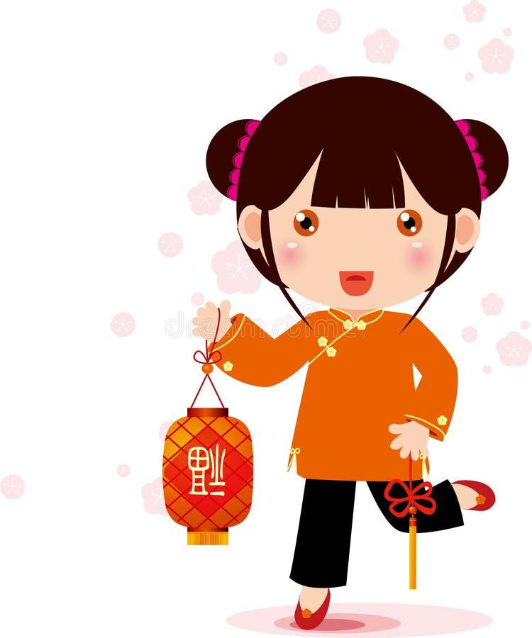 Lantern and girl. Illustration of Lantern and girl ,Traditional festival royalty free illustration