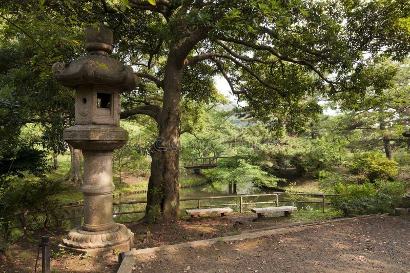 Lantern in japaneese garden Sankei-en. Yokohama, Japan stock photography