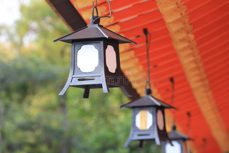 lantern of light will of Gion in Yasaka Shrine in Kyoto. royalty free stock photo