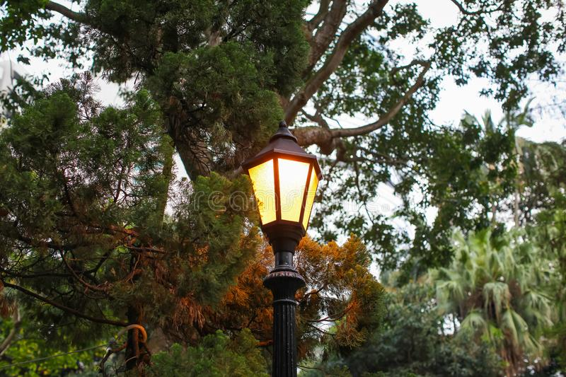 Lantern in park in evening, Street lights are installed in park to provide light in the evenings and early morning. For people who exercise and relax stock photography
