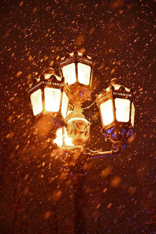 Lantern in park in winter. Lantern in the park in winter. St. Petersburg, Russia stock photo