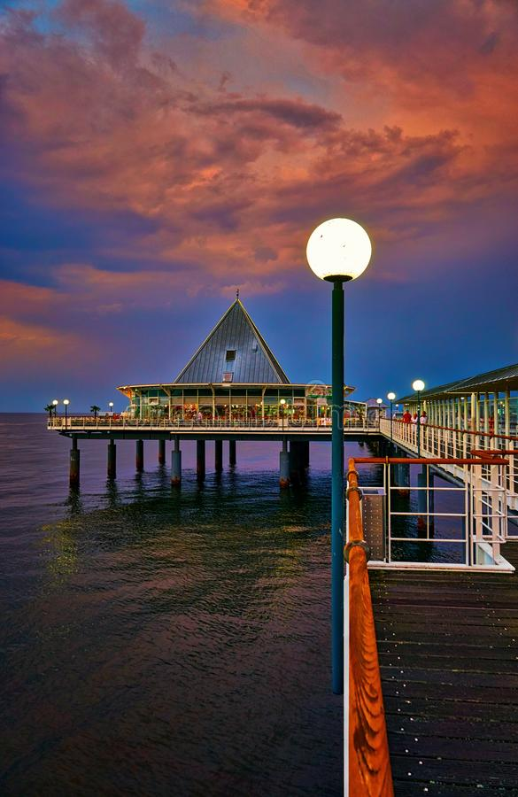Lantern on the pier in Heringsdorf. Baltic Sea island Usedom. Germany royalty free stock image