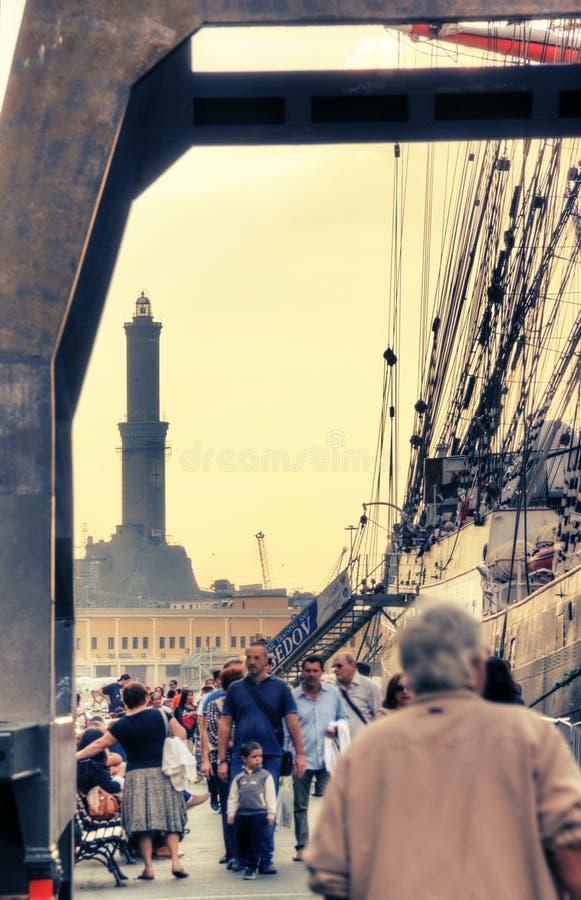 Lantern of the port of Genoa royalty free stock photography