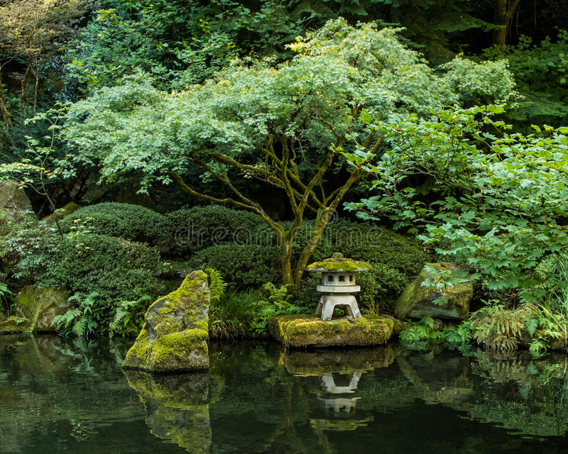 A Lantern in the Portland Japanese Garden royalty free stock photo