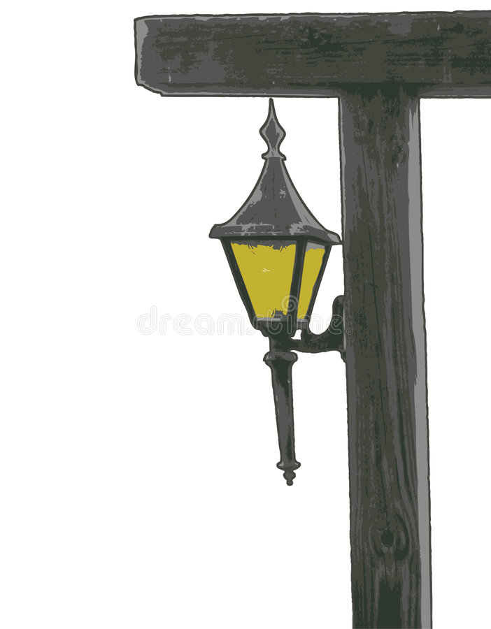 Lantern on post illustration royalty free stock photography