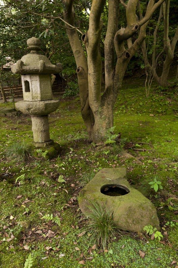 Lantern and rock pond in japaneese garden Sankei-en. Yokohama, Japan stock image