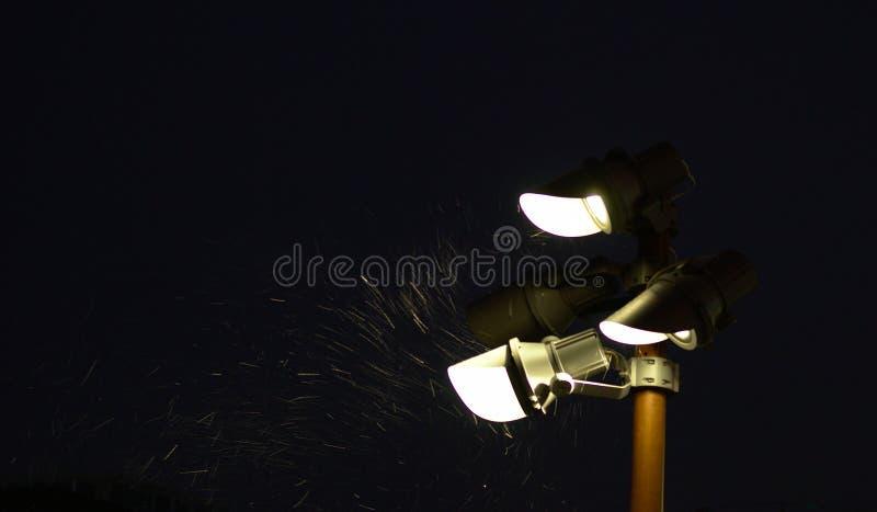 Lantern snow in darkness stock photo