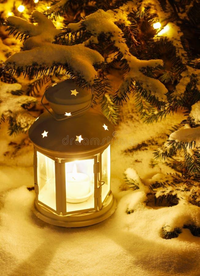 Lantern on snow royalty free stock image