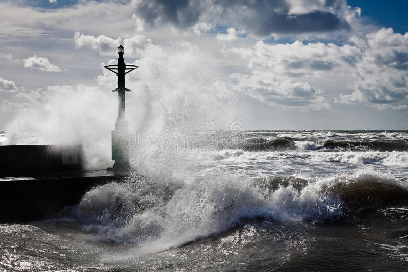 Lantern and Storm in baltic stock photo