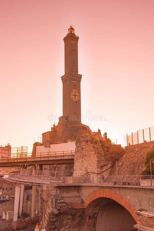 The lantern of Genoa at sunset stock photos