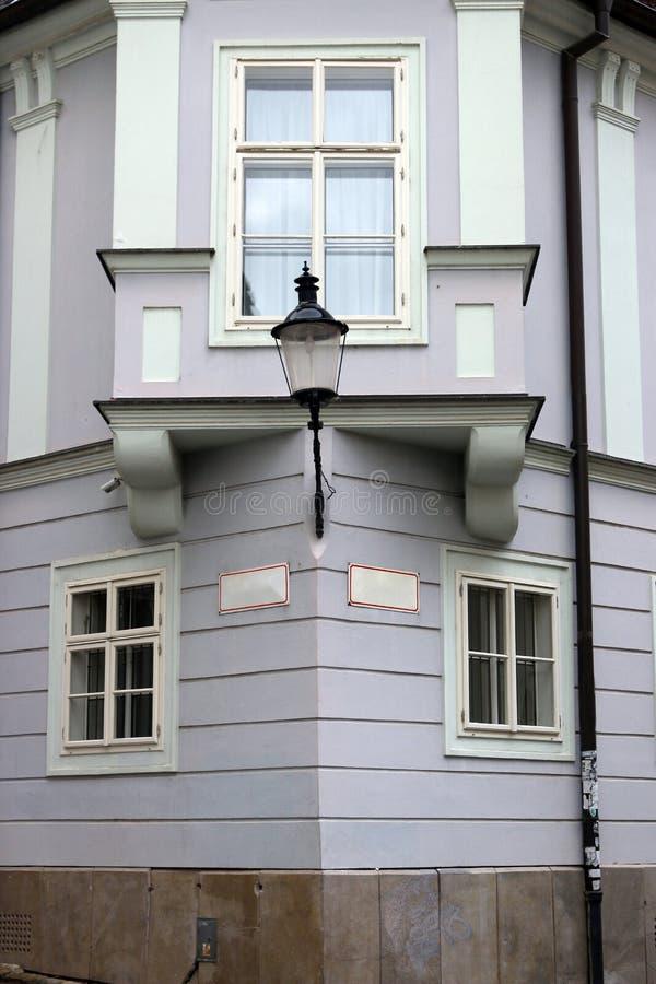 Lantern wall and window house detail old town Bratislava. Slovakia stock image