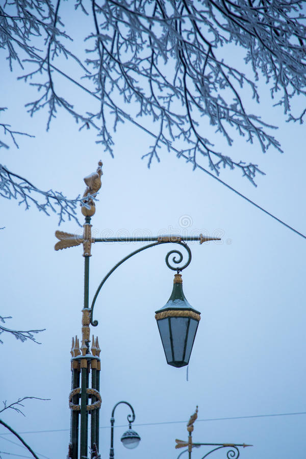 Lantern in winter stock photo