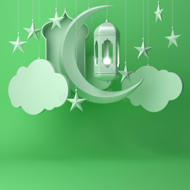 Lanterna ?rabe, nuvem de suspens?o, estrela crescente, janela no texto pastel verde do espa?o da c?pia do fundo ilustração stock