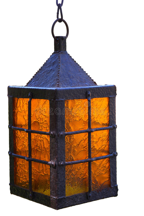 Lanterna antiga isolada no fundo branco imagens de stock