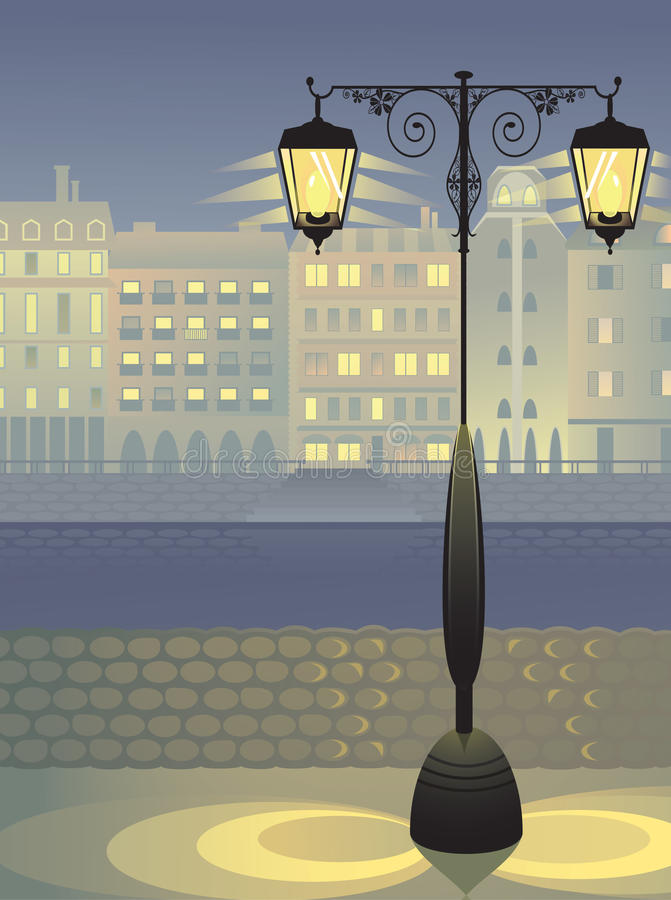 Lanterna antiquata sull'argine del fiume royalty illustrazione gratis