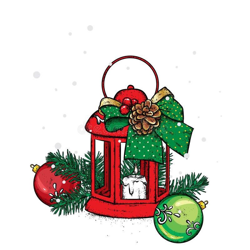 Lanterna bonita do vintage com uma vela Ilustração do vetor cartão festivo ` S do ano novo e Natal Uma curva e uma colisão ilustração stock