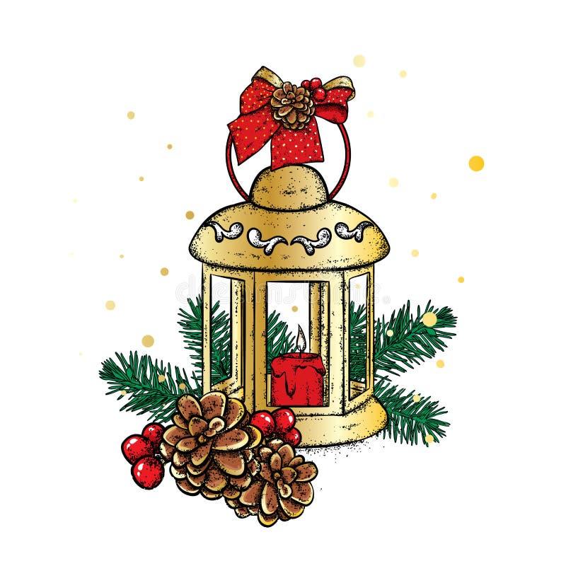 Lanterna bonita do vintage com uma vela Ilustração do vetor cartão festivo ` S do ano novo e Natal Uma curva e uma colisão ilustração royalty free
