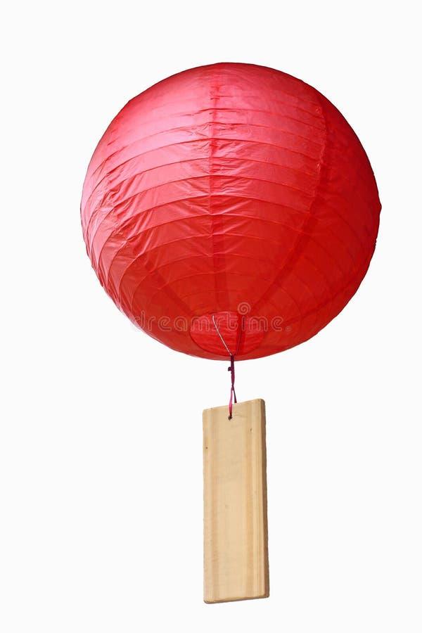 Lanterna chinesa com chapa de madeira fotos de stock