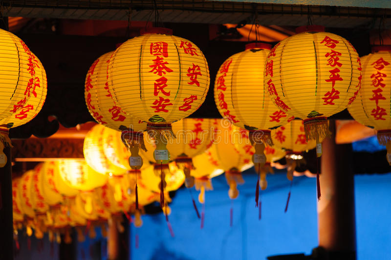 Lanterna chinesa do templo baoan fotografia de stock