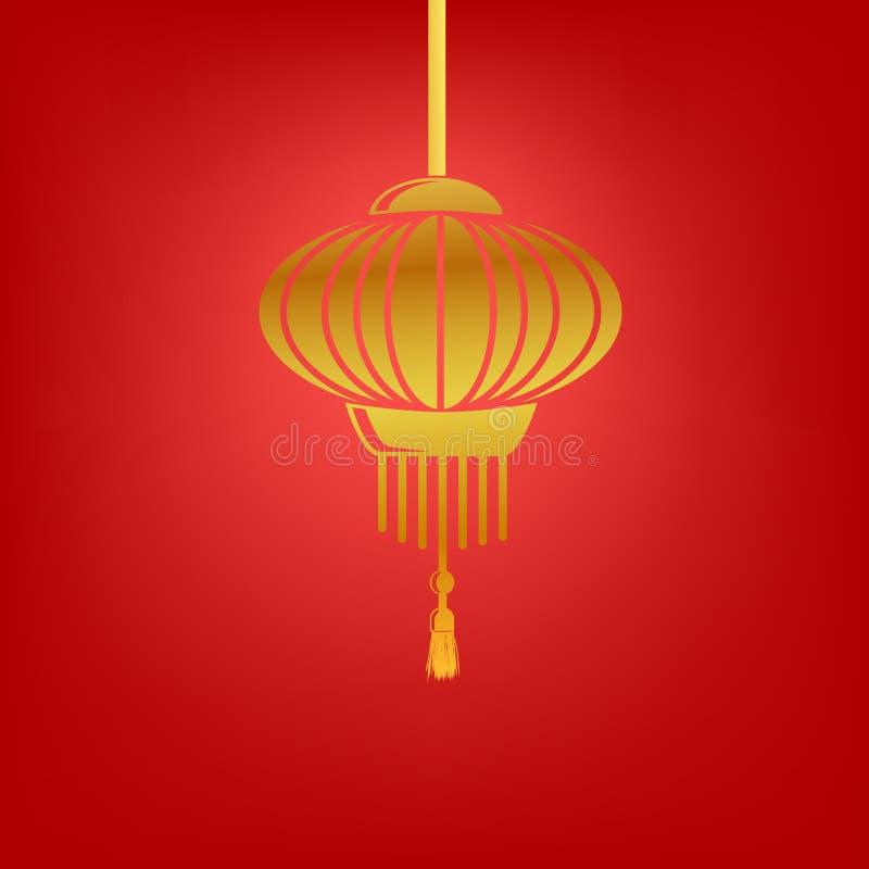 Lanterna chinesa Shinning simples do ícone dourado do vetor no fundo vermelho gradual ilustração do vetor
