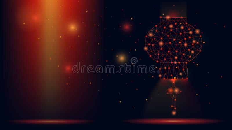 Lanterna cinese del wireframe astratto di vettore illustrazione moderna 3d su fondo rosso scuro L'arte poligonale bassa della mag illustrazione di stock