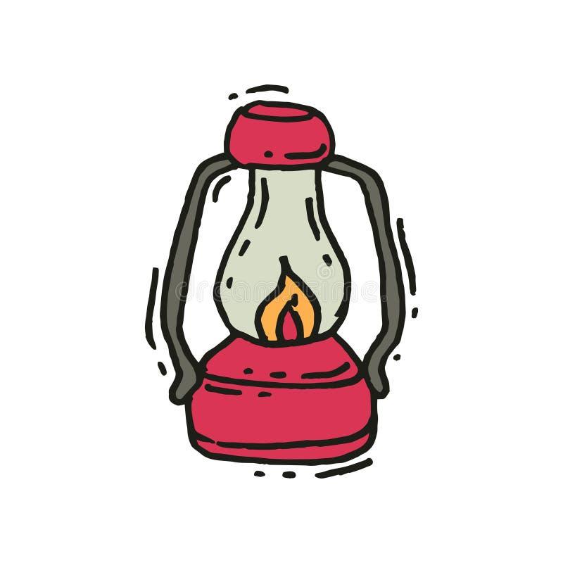 Lanterna d'annata rosa con lo stoppino d'ardore del fuoco nello stile di scarabocchio Retro lampada di gas Strumentazione di camp royalty illustrazione gratis