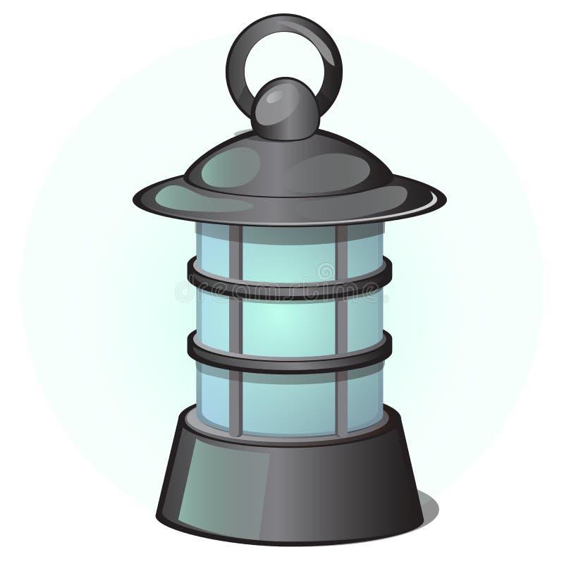 Lanterna d'attaccatura all'aperto nel retro stile isolata su un fondo bianco Illustrazione del primo piano di vettore del fumetto royalty illustrazione gratis