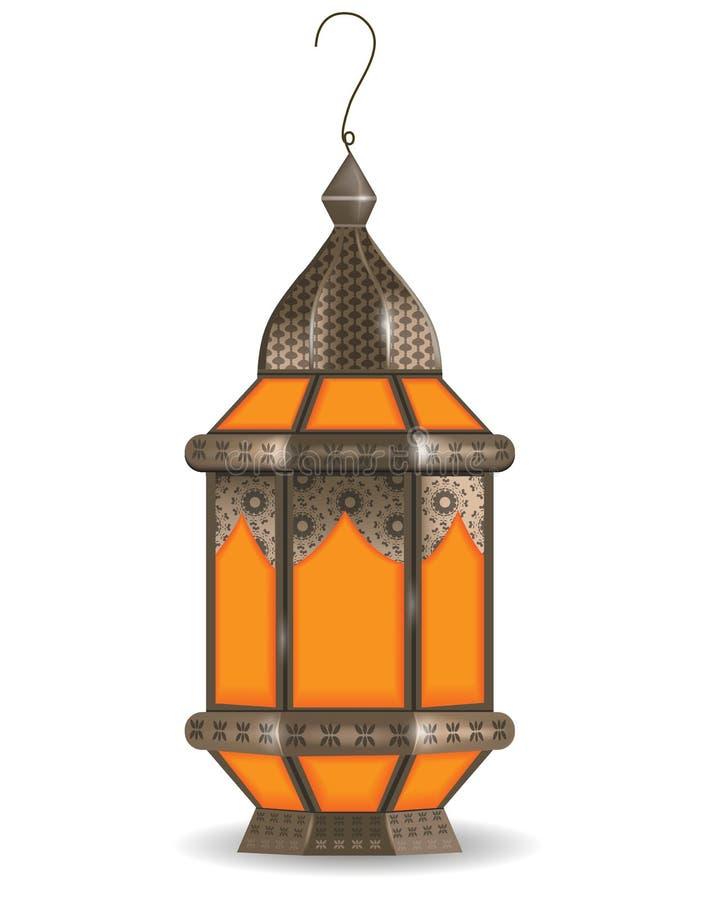 Lanterna 3d realística de Ramadan Kareem, no fundo branco Ilustração do vetor ilustração stock