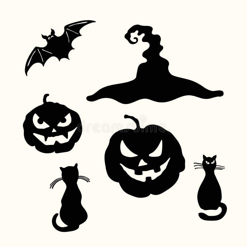 Lanterna da abóbora de Dia das Bruxas, gato preto, chapéu da bruxa, estêncil do bastão ilustração royalty free