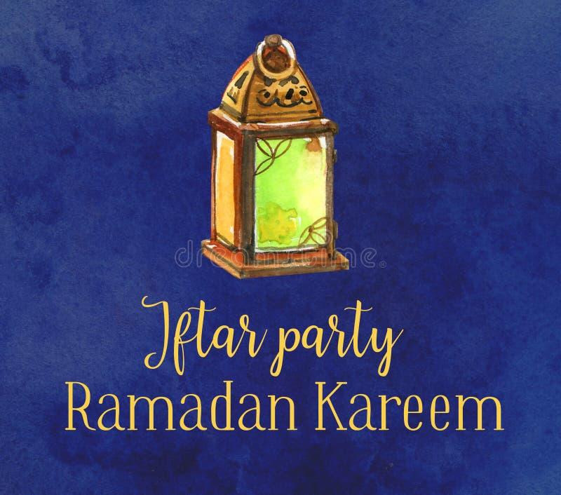Lanterna da celebração do partido de Ramadan Kareem Iftar única, ilustração tirada mão da aquarela ilustração do vetor
