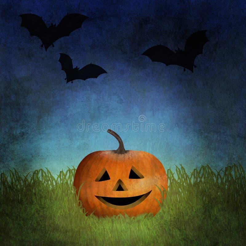Lanterna de Jack o entre a grama com os bastões que voam no céu acima dele ilustração stock