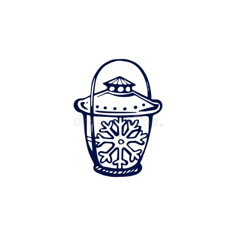 Lanterna de Natal desenhada à mão isolada sobre fundo branco ilustração do vetor