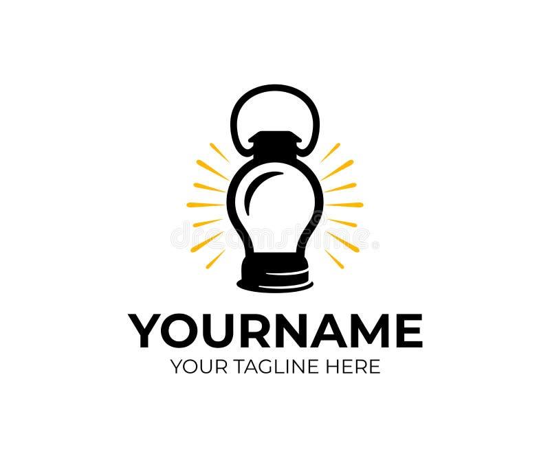 A lanterna de querosene, a lâmpada e a ampola conduziram, projeto do logotipo Elétrico, elétrico, luz, brilho, ideia e inovação,  ilustração royalty free