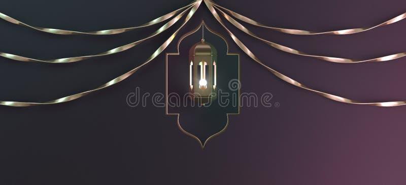 Lanterna de suspensão do árabe do ouro com fita e janela no fundo preto do inclinação ilustração stock