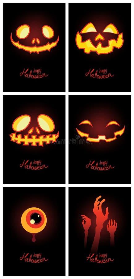 Lanterna della zucca di incandescenza di Halloween sulla carta scura del fondo illustrazione vettoriale