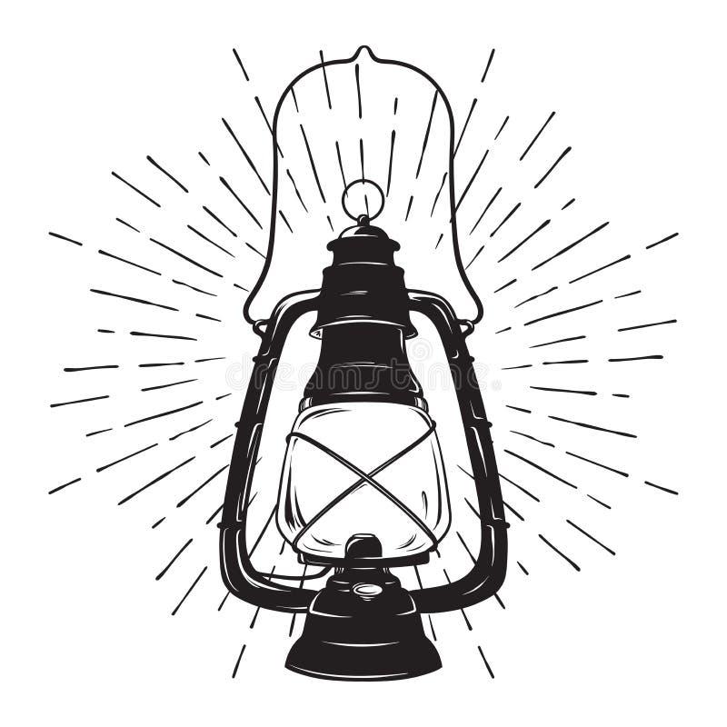 Lanterna desenhado à mão do óleo do vintage do esboço do grunge ou lâmpada de querosene com raios de luz Ilustração do vetor DES  ilustração royalty free