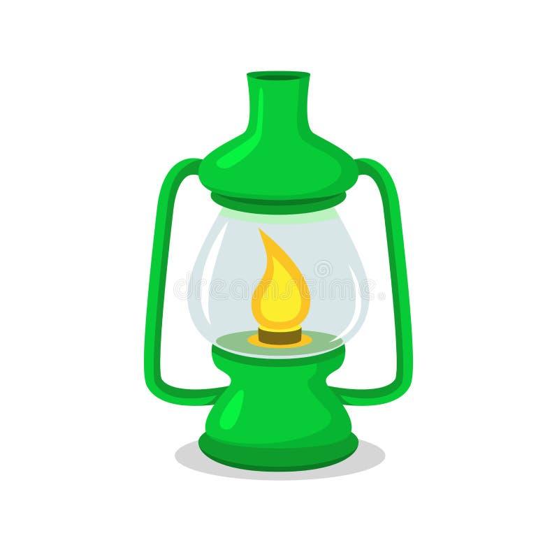 Lanterna di campeggio verde d'annata su bianco nello stile del fumetto e del piano illustrazione vettoriale